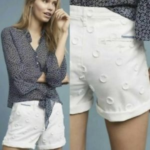 Anthropologie White Relaxed Chino Shorts▪︎30